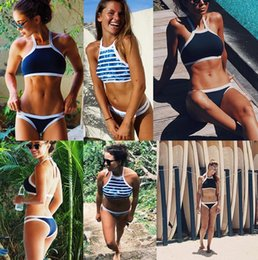Wholesale Sexy Hanging Pushes - 2017 New Triangle Sexy Halter crop top hang High neck Bikinis set push up Swimwear Women Swimsuit Beach bathing suit plus size