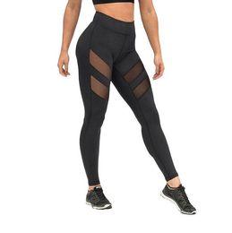 Wholesale Harajuku Leggings - Athleisure harajuku Quick dry leggings for women mesh splice yoga fitness slim black legging pants plus size sportswear clothes 2017 leggins