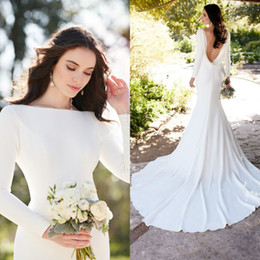 Wholesale Wedding Dresses Soft Elegant - Elegant 2017 Wedding Dresses Mermaid Boat Neck Fit and Flare Court Train Backless Long Sleeves White Soft Satin Bridal Gowns
