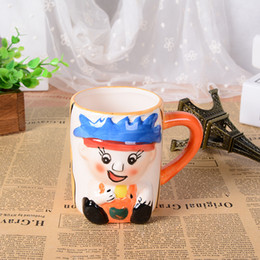 Wholesale China Large Painting - Wholesale- 3D stereo creative hand painted cartoon lovely child mug office large ceramic cup children drinkware Christmas gift