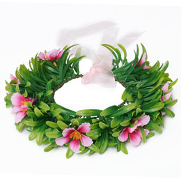 Wholesale Head Garlands - Girls Moana Garland Kids Cartoon Head Accessories Children Adult Floral flower Hoop beach Headwear Moana Party Supplies free shipping