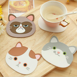 Wholesale Mugs Holders - Silicone Cup Mat Pad Cute Cartoon Cat Coffee Drink Cup Placemat Beverage Pot Pan Holder Pad Kitchen Supplies Coffee Cup Mug Drink Pads