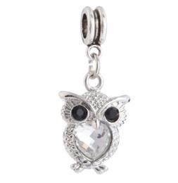 37d244083 Fits Pandora Bracelets 20pcs Cute Owl Dangle Pendant Crystal Charm Bead  Loose Beads For Wholesale Diy European Sterling Necklace Women
