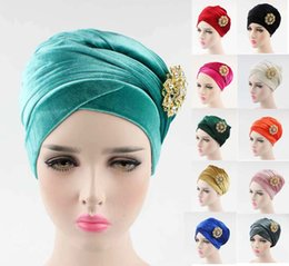 Wholesale Luxury Garden Wholesale - NEW luxury women hijab velvet Turban Head Wrap Extra Long velour tube indian Headwrap Scarf Tie with pearl bowknot brooch