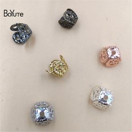 Wholesale Silver Filigree Bead Caps - BoYuTe Diy Jewelry Materials Supplier 200 Pieces 4 Colors 8MM Filigree Flower Brass Square Bead Caps