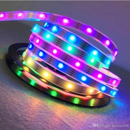 Wholesale Led Color Changing Strip - Waterproof Digital Chasing Dream Color LED Strip 5V 30 60 leds m 2812 RGB led strip light 5050SMD IP67 Auto changing RGB color