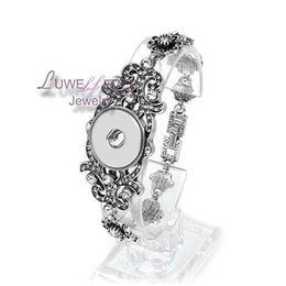 Wholesale Wholesale Carved Bracelet - high quality 141 Carved Fashion Full of crystal Snap Button Bracelet Interchangeable Charm Jewelry For Women Men(Fit 18mm snap )