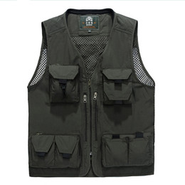 Wholesale Men Travel Vest - Wholesale- New Arrival Multifunctional Camera Vest Outwear Men's Clothes Travels Vests With Multiple Pockets Sleeveless Jacket M-4XL 80 D
