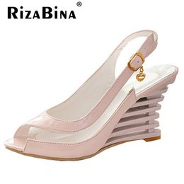 Wholesale Ladies Peep Toe Flats - Wholesale-Women High Heel Sandals Fashion Lady Gladiator Patent Leather Wedges Peep Open Toe Summer Sandals Female Shoes P3319 Size 34-39