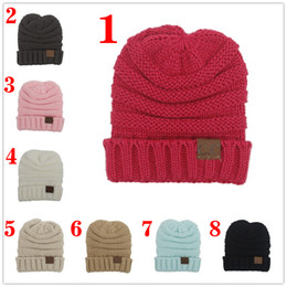Wholesale Kid Girls Fashion Tops - For Kid hat CC Trendy Warm Oversized Chunky Soft Oversized Cable Knit Slouchy Beanie 12 color