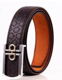 Wholesale Head Belt Buckle Sales - New product brand luxury retro pin buckle Head layer cowhide yellow belt leather belts for men business cowboy belts Hot Sale