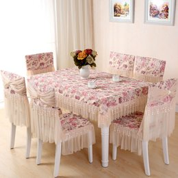 Wholesale Photo Cloth - Lace floral photo printing cotton tablecloth set suit rectangle table cloth matching chair cover set soft touch free ship
