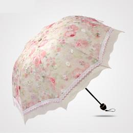 Wholesale Wholesale Beautiful Umbrella - hot sell 2017 Embroidery fabric shade sun umbrella beautiful women middle size umbrella female parasol creative leach umbrella