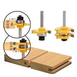 """Wholesale Tooth Shapes - 2Pcs Shank Matched Tongue & Groove Router Bit 3 4"""" Stock 1 4"""" Shank 3 Teeth T-shape Wood For Woodworking Tool"""