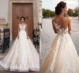 Wholesale Sexy Cheap Black Ball Gowns - Stunning 2017 Milla Nova Sheer Castle Wedding Dresses Ball Illusion Back Appliques Lace Chapel Train Cheap Bridal Gown For Western Style