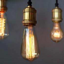 Bombilla incandescente de tungsteno online-Vintage Edison bombilla E27 lámpara incandescente bombilla de tungsteno 60W filamento vela colgante luz blanca cálida iluminación 110 / 220V
