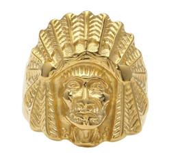 anel de cabeça de ouro indiano Desconto Venda quente nova ligaMulheres Mulheres Vintage aço Inoxidável Anel Hip hop Estilo Punk Ouro Antigo Maya Cabeça Indiano Tribal Anéis Cabeça Moda Jóias