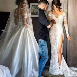 Wholesale Lace Over Satin Wedding Dress - 2017 Stunning Removable Sexy Wedding Dress Mermaid Sheer Neck Illusion Long Sleeves Lace Appliques Bridal Gown High Split Over Skirt