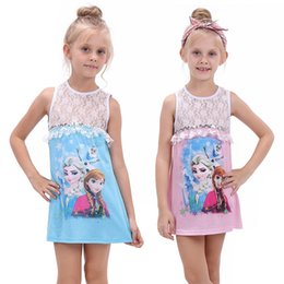 Wholesale Girls Leopard Jumpers - Lace Hollow Girls Dress Elsa Anna 2017 Sleeveless Summer Girl Jumpers Snow Princess Children Clothes Costumes Cotton 3- 13years