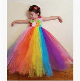 Wholesale Long Rainbow Color Skirts - Summer Bohemian Rainbow Dresses Cute Girls Children Floral Suspender Hawaii Style Dress Lace Long Skirt Performance Dance Clothing