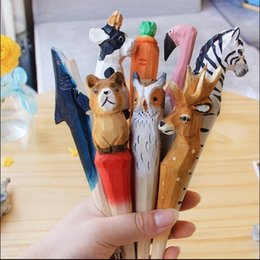 Wholesale Wholesale Wood Pen - 100pcs lot Handmade Ballpoint Pen Lovely Artificial Wood Carving Animal ball pen Creative Arts blue pens gift New many color