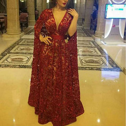 Wholesale Custom Made Band - Middle East Celebrity Dresses Burgundy Real Images Guipure Embroidery Lace Kaftan Floor Length with Ruched Waist Band Evening Gowns