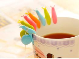 12 pçs / lote caracóis rótulos de vidro de vinho de silicone caneca de chá copo de marcadores de vidro saco de chá marcadores de bebida óculos de marca cheap cup markers de Fornecedores de marcadores de xícara