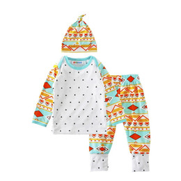 Wholesale Girls Deer Tshirt - wholesale 2016 kids boys girls white deers clothes baby 3 pieces clothing toddler autumn sets children hat tshirt pants suit for 70-100cm