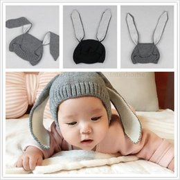 Discount photo prop hat rabbit - Kids INS Knitted Hats Baby Winter Beanie Toddler Crochet Hats Infant Adorable Rabbit Long Ear Hat Baby Bunny Beanie Caps Photo Props B1447