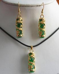 Wholesale Mixed 18k Gp Necklace - Fashion Jewelry Set Unique 18K GP Green Jade Pendant Necklace earrings