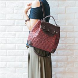 Wholesale Holiday Backpacks - New Thai version of the handmade seaweed woven bag retro Japanese art Sen female rattan book bag holiday beach backpack