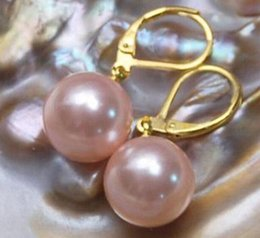 Wholesale Huge Studs - HUGE 16MM perfect ROUND AAA PINK SOUTH SEA SHELL PEARL EARRING 14K GOLD