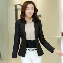 Wholesale Korean Style Ladies Blazer - New 2017 Women Blazers and Jackets Female Slim Coat Korean Style Ladies Long Sleeve feminino Work Wear Blazer Femme Plus Size S-2XL