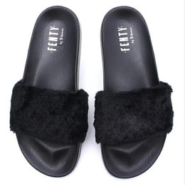 Wholesale Color Dust - Hot Sell:Rihanna Leadcat Fenty Slippers,Black Color,Original Box Dust Bag,Women Indoor Slippers,Fenty Sandals,Size 36-40,Free Shipping