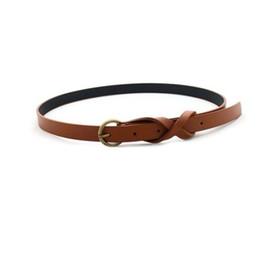 skinny girl leather UK - Wholesale- Skinny Belt Women Girls Thin Faux Leather Skinny Waist Chain Waistband Jeans Belt JL