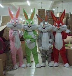 Wholesale Green Bunny Rabbit Costume - Grey Rabbit Mascot Costume bugs Bunny mascot Clothing Cartoon Character Costume Party Fancy Dress free Shipping