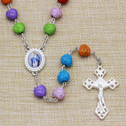 Wholesale Rosary Necklace Plastic - Pretty Rainbow 10mm Heart Style Plastic Beads Jesus Rosary Necklace with Silver Plated,Free Shipping 10 pcs  Lot