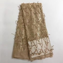 Wholesale Wholesale Embroidered Organza Fabric - Melody Organza French Laces Fabric 3D Sequins gold Flower embroidery High Quality Tulle net Lace Soft tissue For Women