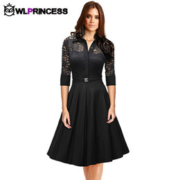 Wholesale High Women S Party - Wholesale- Z&KOZE Autumn Audrey Hepburn vintage women Lace Waist Black big swing robe high quality dress Lady rockabilly party dresses