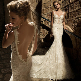 Wholesale Wedding Dresses Straps Low Back - Gorgeous 2017 Lace Wedding Dresses Mermaid Slim Low Open Back Sexy Pearls Spaghetti Straps New Bridal Gowns