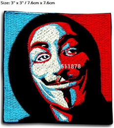 "Wholesale Guy Fawkes V For Vendetta - 3"" V for Vendetta Anonymous Guy Fawkes Mask Patch 50% OFF FOR 10 LOTS Movie TV Cosplay Embroidered Emblem iron on applique Badge"