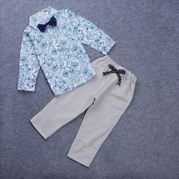 Wholesale Shirt Boy For Wedding - 2017 Gentleman Baby Suits Clothes For Wedding Boy Fashion Kids Boys Cotton Clothing Spring Flower Print Long Sleeve T-Shirt Bowknot Top Suit