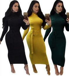 Wholesale Wool Long Sleeve Maxi Dress - 2017 new Women knitted sweater dress Casual Long Sleeved Slim Maxi Jumper Dress Vestidos Package hip Slim Vintage Knitwear