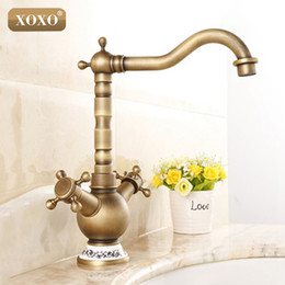 Wholesale Finish Bath - Wholesale- XOXOAntique Bronze Finish 360 Degree Swivel Brass Faucet Bathroom Basin Sink Mixer Bath& kitchen taps Faucet 50081BT