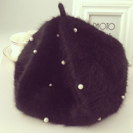 Wholesale Pink Hair Berets - Wholesale-Pearl rabbit hair beret female winter hats dimming fashion trendy lady bao mushroom hat