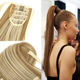 """Wholesale Ponytail Extensions Ribbon - Wholesale- Fake Hair bandage Ponytail 24""""Long Straight pony tail Drawstring Ribbon Hairpiece Clip In Pony Tail Hair Extensions Multicolor"""