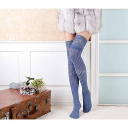 Wholesale Womens Over Thigh Socks - Wholesale- Womens Lace Knitting High Socks Over Knee Thigh Pantyhose Warm