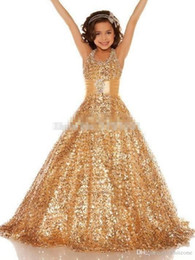 Wholesale Halter Neck Rhinestone Wedding Dresses - Hot Sale New Gold Sequined Flower Girl Dresses 2017 Halter Neck Sash Princess Little Kid Pageant Party Sweep Train Ball Gown Custom Made