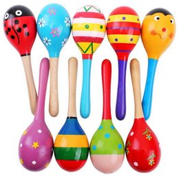 Wholesale Maracas Baby Toy - Wholesale- Colorful Mini Wooden Maracas Child Maracas madera Party Musical Instrument Baby Rattle Shaker Children Gift Toy Sand Hammer 1PC