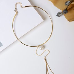 Wholesale Luxury Mother Pearl Fashion - Metal Tassel Pearl Hanging Choker High Quality New Fashion Exquisite AAA+ Personality Luxury Sexy Party Jewelry